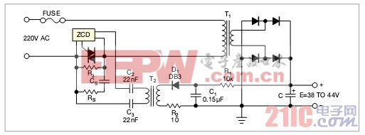 图1,本电路使用一只负阻半导体,当滤波电容上的电压达到32V时,构成一个700Hz振荡器
