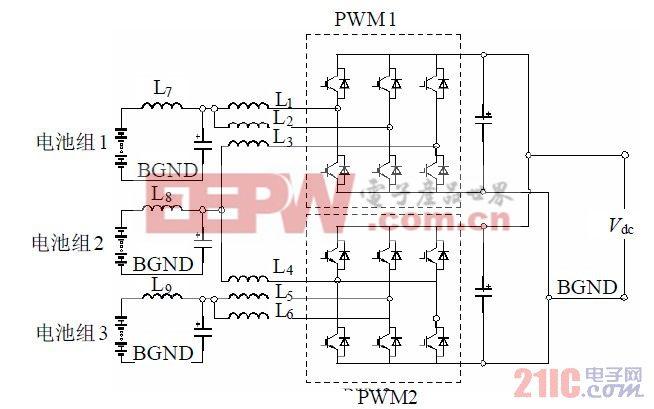 图4 3 组电池储能系统双向DC-DC 变换器。