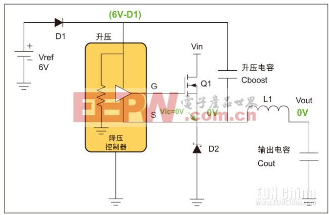 图1,电期间的降压稳压器。