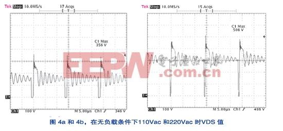 在无负载条件下110Vac和220Vac时VDS值