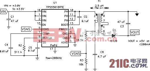 同步降压电路提供隔离式电源供应