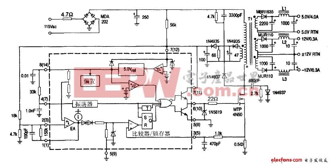 图2 基于uc3845反激式开关电源的电路图图片