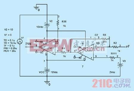 输出电压再与锯齿波v1比较