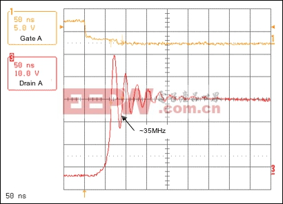 Figure 3. Resonant voltage spike frequency without snubber circuit.
