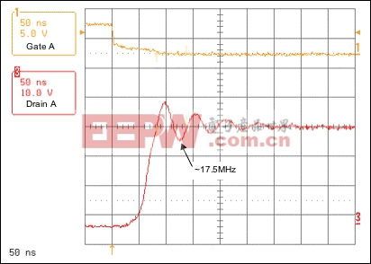 Figure 4. Resonant voltage spike frequency with 330pF shunt capacitor.
