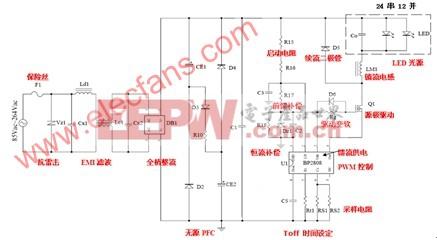 应用BP2808恒流控制芯片的高效能LED照明电源设计