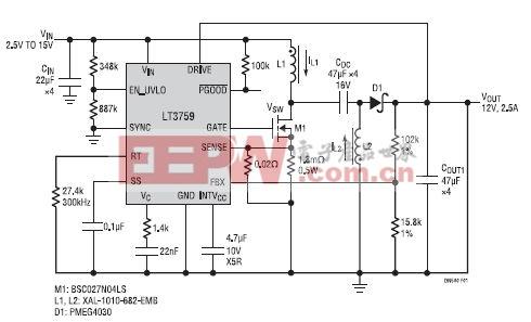 图 1:SEPIC 转换器可从 2.5V 至 15V 输入产生 12V 输出