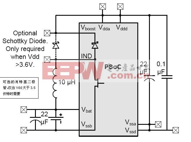 一个外部低电压升至一个内部更高电压的系统级连接情况