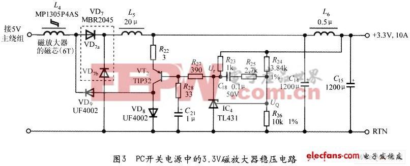 3.3V磁放大器稳压电路