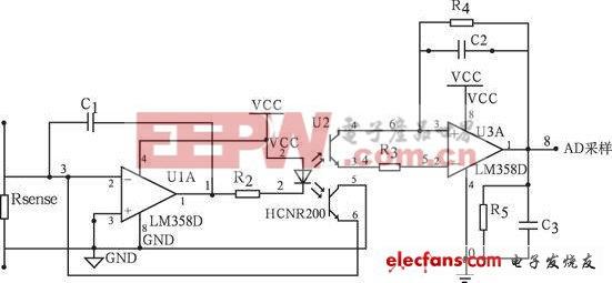 图5 所示为电压采样电路.因为spce061 的a/d 端输入范围