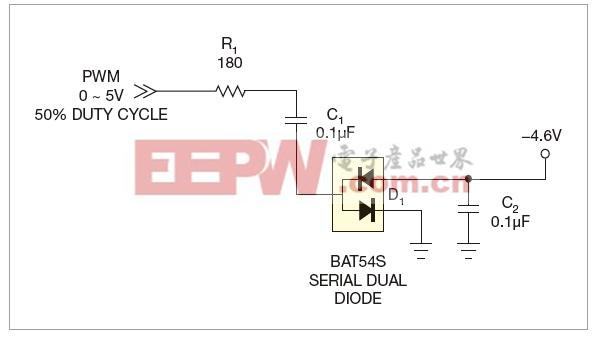 图1,二极管与电容提供了负电压。
