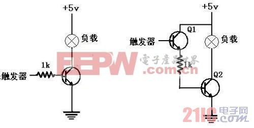 (a) 基本电路图 (b) 改良电路-一种三极管开关电路设计