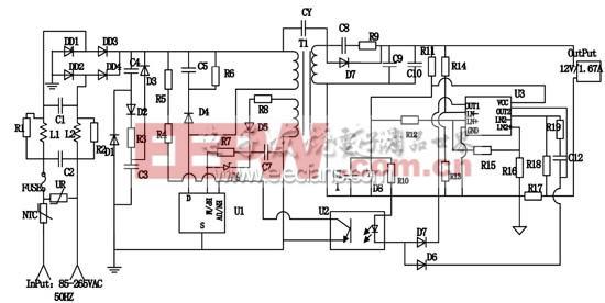 采用双环反馈的大功率LED驱动电源整体电路图