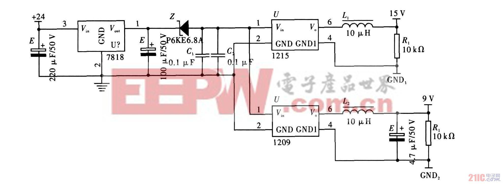 2.3 驱动电路   由于功率MOSFET 是压控元件, 具有输入阻抗大、开关速度快、无二次击穿现象等特点, 满足高速开关动作需求, 因此采用IR 公司的场效应管IRF9540和IRF540构成H 桥电路的桥臂。H 桥电路中的4个功率MOSFET 分别采用n沟道型和p沟道型, 设计的电路原理, 如图4所示。   数字电平上下跳变时, 集成电路耗电发生突变,引起电源产生毛刺。数字电路越复杂, 数据速率越高, 累计的电流跳变越强烈, 高频分量越丰富, 而普通印刷电路板不能完全吸收逻辑电平跳变产生的电压毛刺
