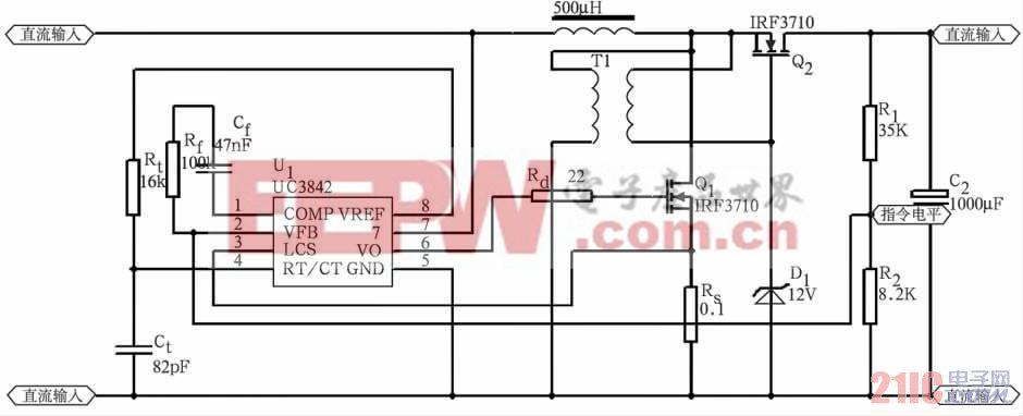 图2 主电路及UC3842 控制电路图   以UC3842 为基础构成的电压电流双环控制的Boost 变换器当脉冲占空比大于0. 5 时,存在不稳定现象。为使系统稳定,要么降低控制环的低频增益,要么采取斜坡补偿的办法,前者使输出电压的控制精度降低,后者实现上要求比较严格。鉴于系统已设置单片机以满足监测显示功能的要求,可以利用单片机对Boost变换器控制系统进行校正,在系统稳定的前提下可以使输出电压的控制精度大幅提高,而技术实现上切实可行,方案如图3 所示。