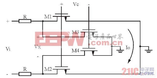 为了提高线性度, 本文采用改进型R-MOS结构, 图2所示是其原理图。这种结构的优点是电阻和MOS管之间的分压作用可使MOS管两端的电压变小, 从而改善图1中的线性度。在这种结构中, 处于线性区的MOS管更像一个电流舵器件而不是一个电阻器件。它的等效电阻如下: