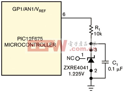 图1一个电压基准与一只电容为微控制器提供一个基准电压