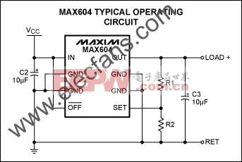 MAX604可调节输出配置 www.elecfans.com