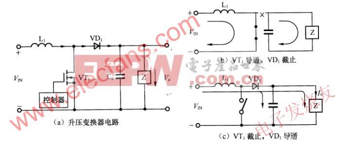 电感升压变换器基本电路及其工作原理图 www.elecfans.com