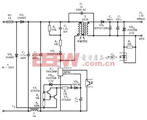 由TNY280P构成3W超宽输入范围的工业控制电源的电路