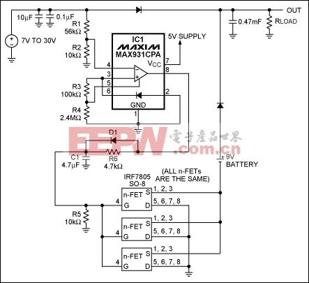 图1. IC1 MAX931比较器用于监测主电源电压。当主电源电压下降到7.4V以下时,它可以通过将电池负端接地接通备用电池。