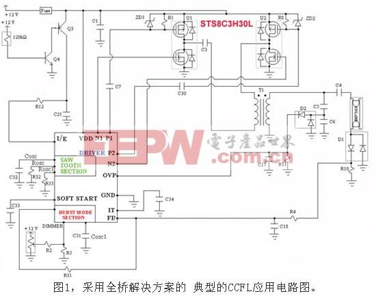 采用全桥解决方案的典型CCFL应用电路图