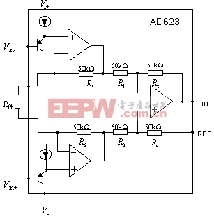 AD623采用典型三运放仪表放大器的结构.通过给两个输入端上偏0图片