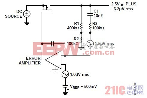 图5. 降低可调输出LDO的噪声增益