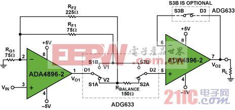 利用ADA4896-2和ADG633构建低噪声增益可选放大器来驱动低阻负载