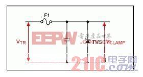 图1。 瞬态电压保护电路使用谨慎组件。