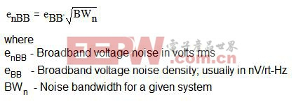 方程式 2.3:宽带噪声方程式