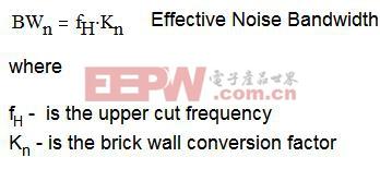 方程式 2.2:宽带区域上简单滤波器的噪声带宽