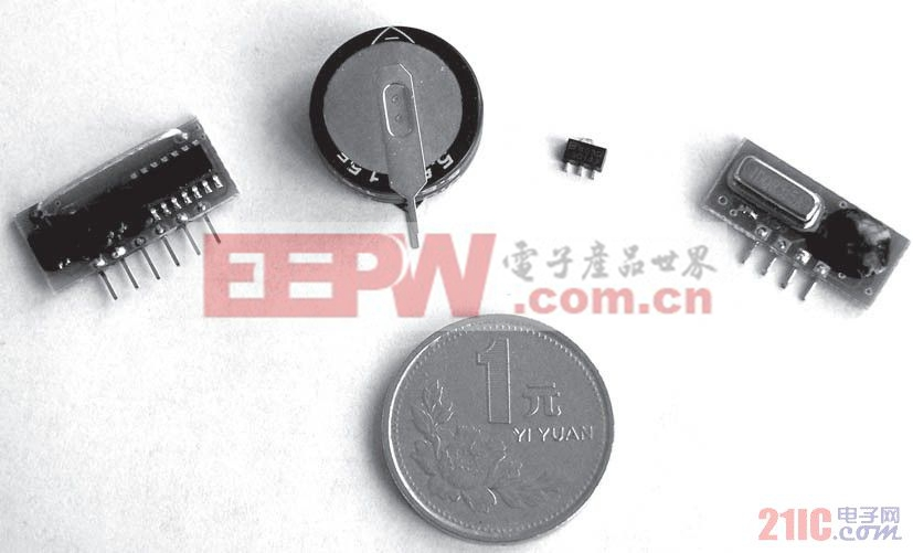 图5 所用核心元件:(左起)接收模块、超级电容、DC/DC变换器、发射模块