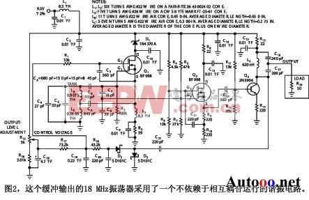 图2为采用等效电路的一个振荡器和输出缓冲器