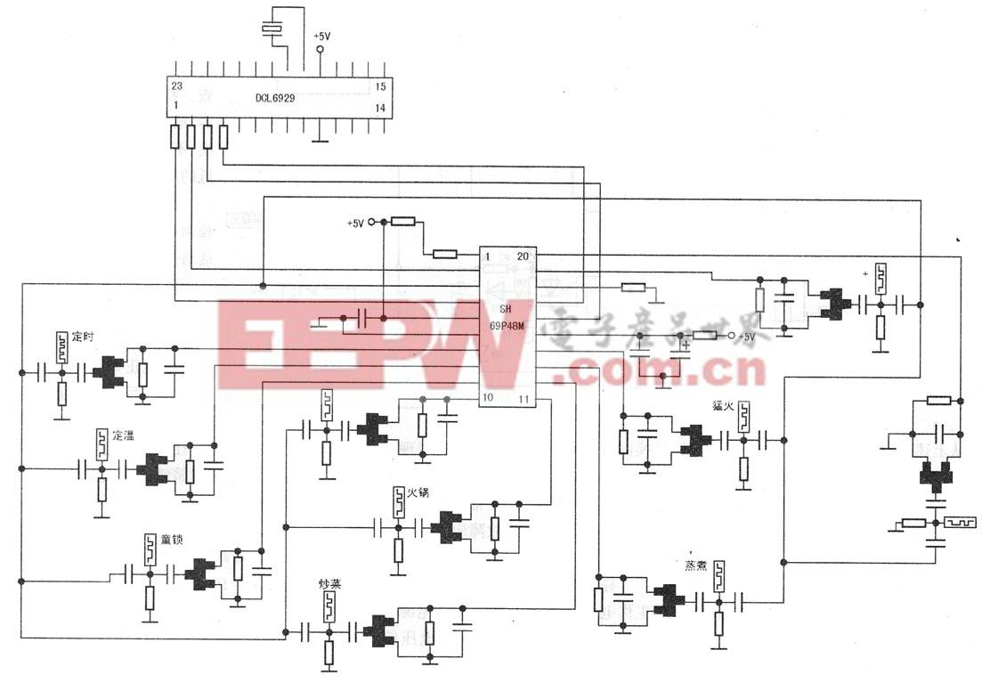 图7 由SH69P48M组成的触摸控制电路图