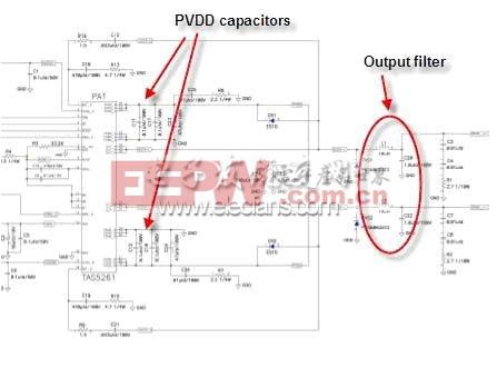 TAS5261 参考设计的 PVDD 电容及输出 LC 滤波器等组件