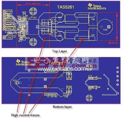 TAS5261 参考设计 PCB 的高电流信号线范例