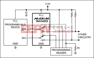 Figure 1. This analog switch (MAX4525) enables in-circuit programming by providing dual service for two lines (SDA and SCL) on the programmable device: for normal operation they connect to other circuitry, and for programming mode they connect to the programming header.
