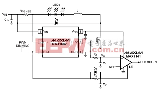 Figure 2. Adding this comparator circuit to the Figure 1 circuit provides detection of shorted LEDs.