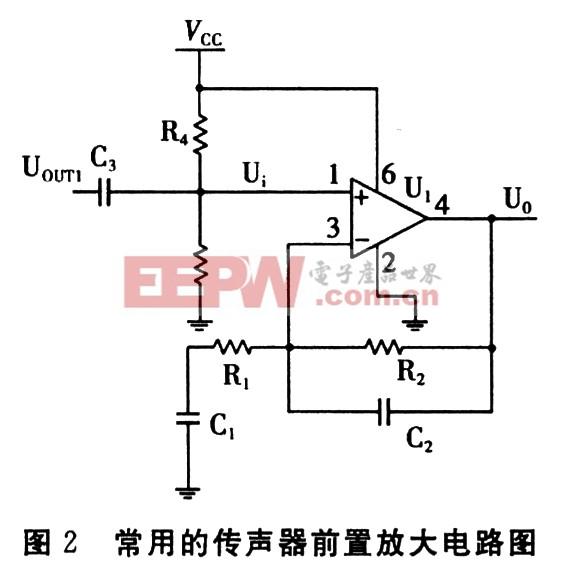 2 前置放大电路的设计分析 前置放大器的作用一方面是对电容传声头输出的信号进行预放大,另一方面主要是将电容头的高输出阻抗转换为低阻抗输出。小型前置放大器的电路主要包括两部分,其中一部分是场效应管组成的阻抗变换电路,另一部分就是下面将详细分析的放大电路。 2.1 放大电路的简化模型 传声器的前置放大电路如图2所示。图中运放采用了美国美信公司的麦克风前置放大器MAX4465,MAX4465为5脚SC70封装,低成本,微功耗。下面对这一电路的原理进行简化分析和说明。为便于电路的分析,令Z1=R1+1/(jC1)