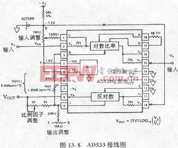 答:ad538的接线方法如图138所示,v be 是硅二极管pn结两端间的电压