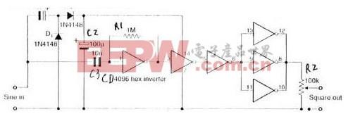 由六反相器CD4096组成的自适应方波发生器