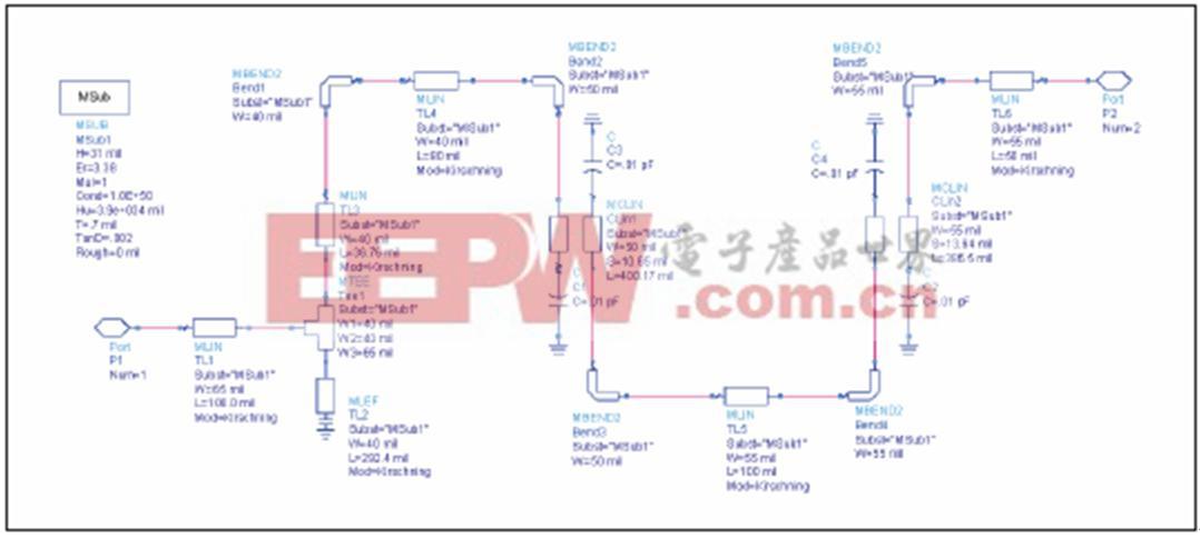 微带滤波器和耦合电路的设计
