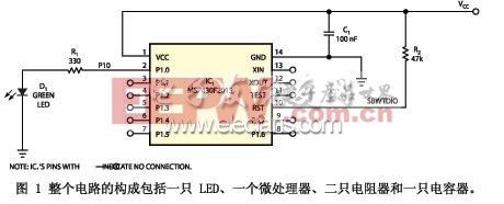 整个电路的构成包括一只 LED、一个微处理器、二只电阻器和一只电容器