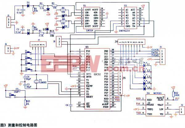 电路中设计了键盘输入人机接口S1和S2。S1为输入功能键,S2为系统启动键。S1有两个功能:汽车汽缸数选择功能和汽缸数复位功能。按键S1与 89C52的P1.2相连,每按一次,缸数加1。选定缸数后,按下与P1.3相连的测试按键S2即开始测试,为减少按键设计,任何状态下,只要长按S1键就可立刻回到初始状态,缸数选择步骤重新选择缸数。   显示模块设计   在实际测量中,由于角度值以度为单位,不会超过百位,且精确到十分位,因此用4个数码管LED即可显示一路汽缸的点火闭合角,级联后可显示多路多缸的点火闭合角。本