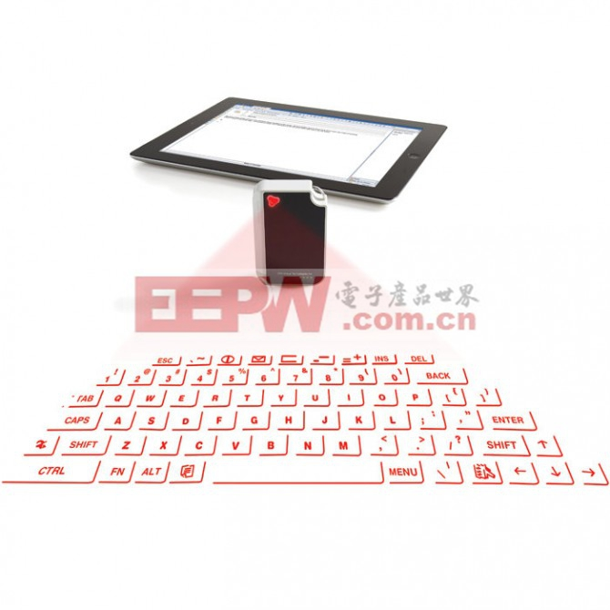 The Virtual Keyboard displays a laser outline of a full-sized QWERTY keyboard in front of ...