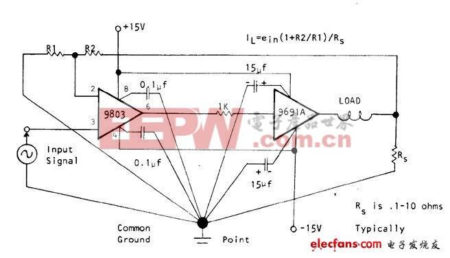 电子运算放大器电路(直流电100W至500kHz)
