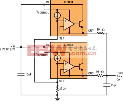 图3:将多个稳压器并联以实现更大的电流并分散热量