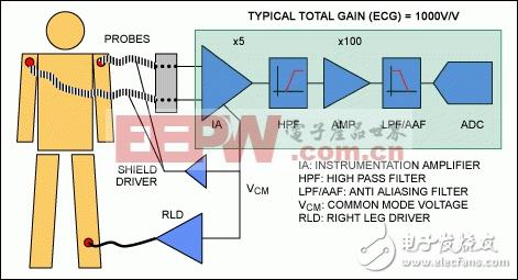 典型的ECG设备通常利用AFE进行信号放大、滤波,然后通过一个ADC进行数据采集