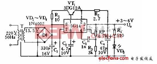 3至6V可调稳压电源电路设计